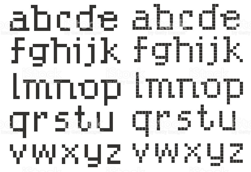 Vector Illustration Of Pixel Art Styled Abc Lowercase