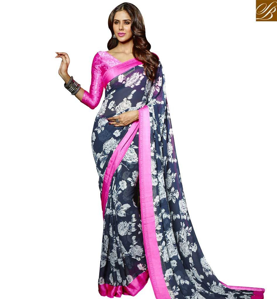 SUPERB DESIGNER FLOWERY PRINT SARI DESIGN FOR PARTIES RTMAS12713 – Stylish Bazaar