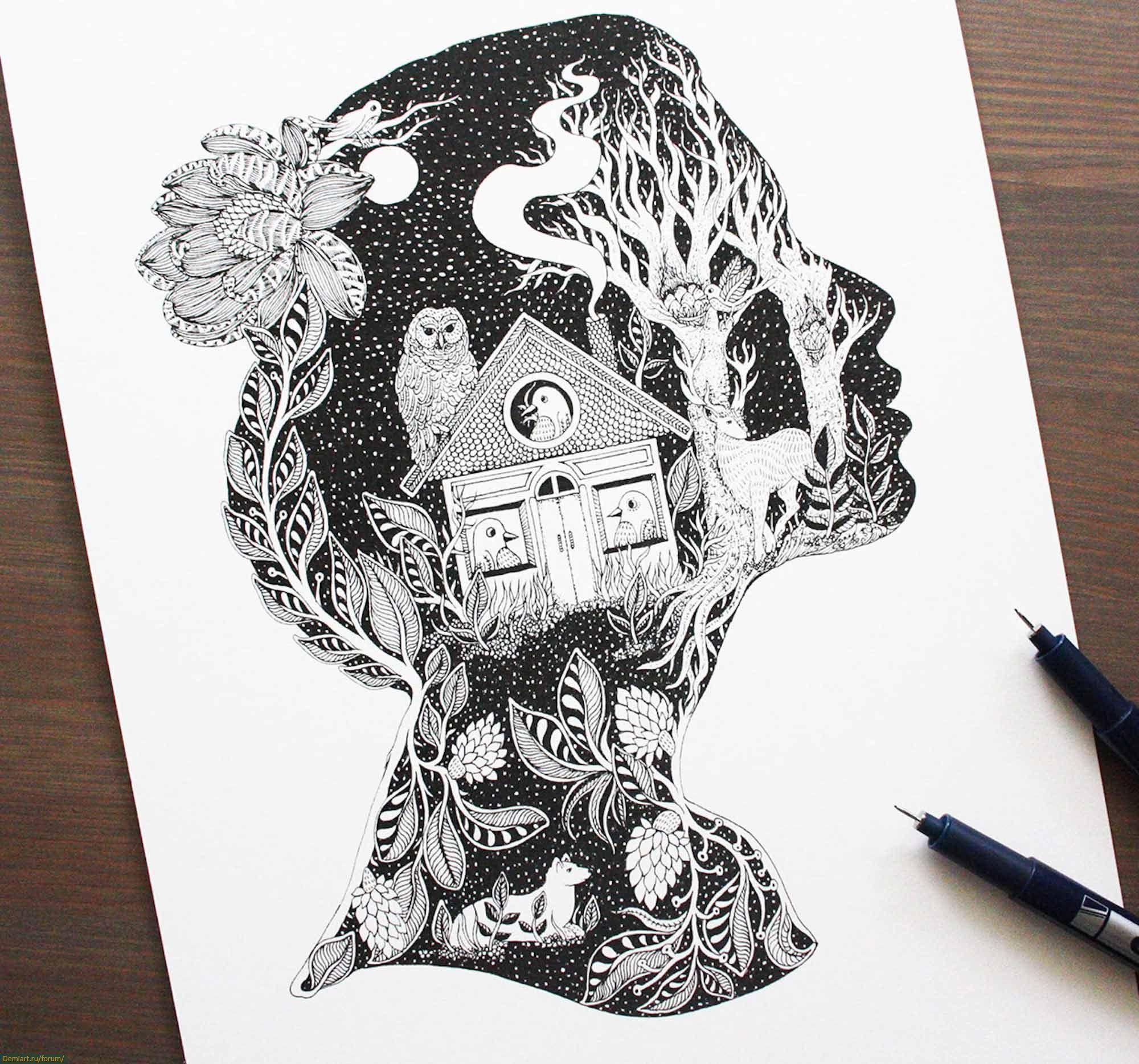Картинки гелевой ручкой человека