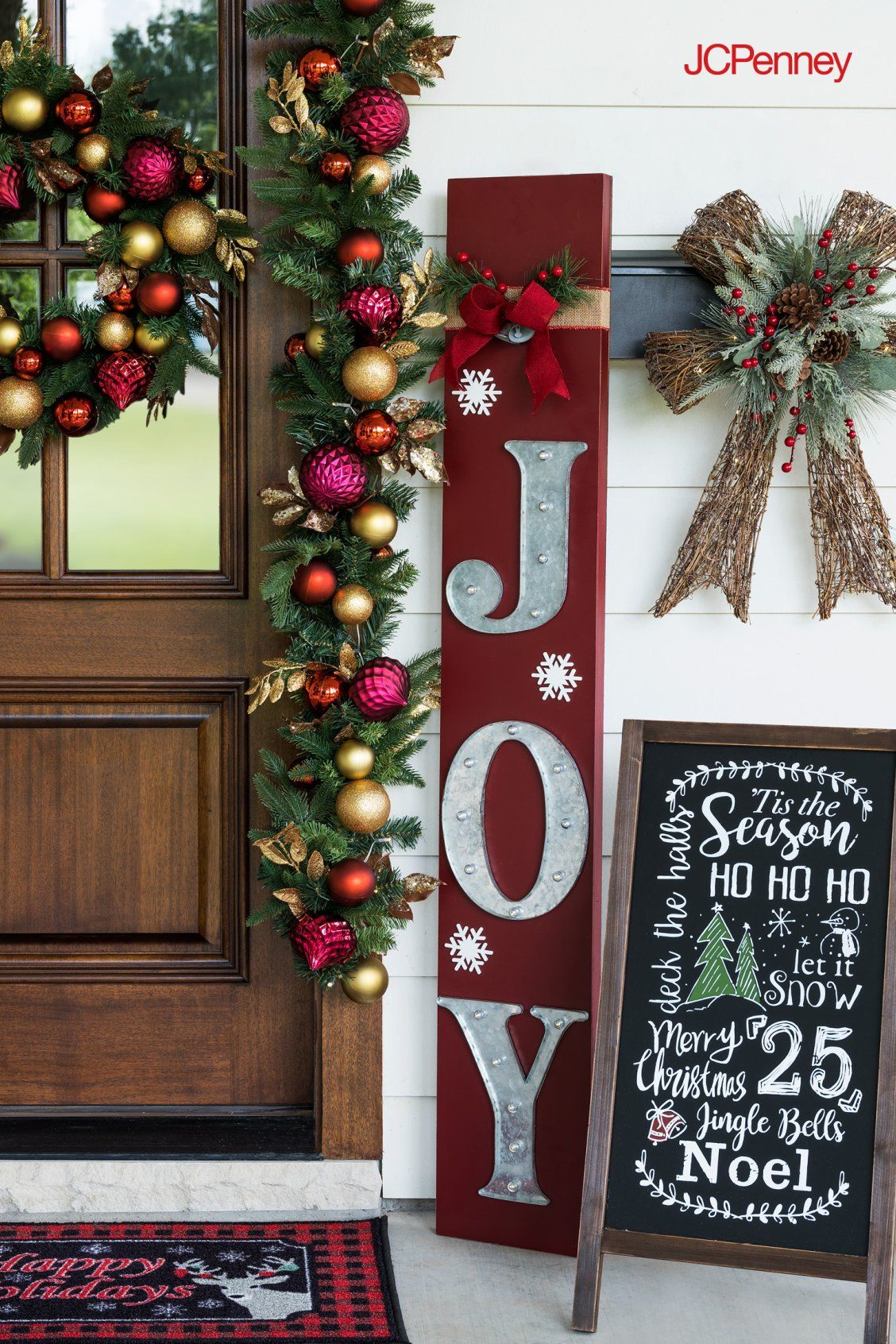 Spread holiday cheer by decorating your front porch with the perfect ...