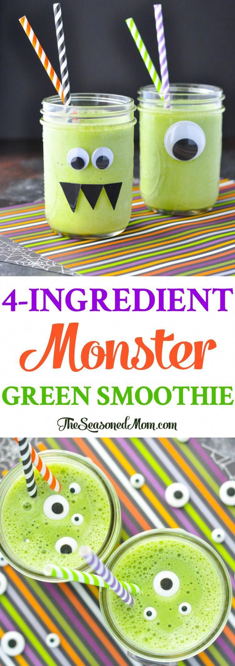 A 4-Ingredient Monster Green Smoothie is a healthy breakfast for Halloween morning! Healthy Recipes | Smoothie Recipes | Halloween Food | Halloween Party #healthybreakfastsmoothies Banana Smoothie Bowl, Smoothie Bowl Vegan, Green Breakfast Smoothie, Detox Breakfast, Healthy Breakfast Smoothies, Healthy Green Smoothies, Smoothies For Kids, Green Smoothie Recipes, Easy Smoothies