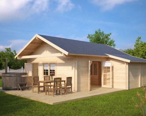 Großes Gartenhaus mit Terrasse Dallas 42,5m² / 70mm / 7x7