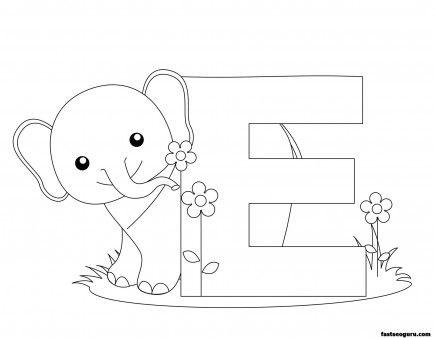 Printable Animal Alphabet Letter E For Elephant  Printable