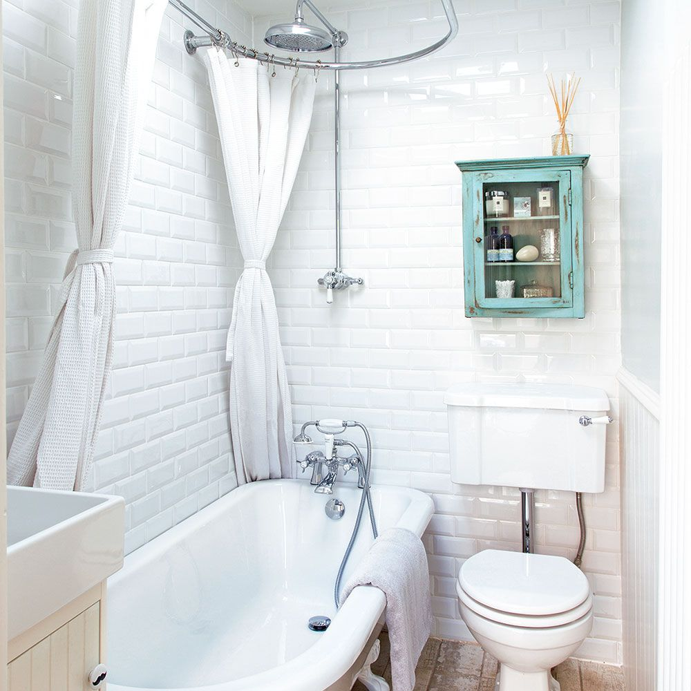 Bathroom with white metro tiles and freestanding bath | Bathroom ...