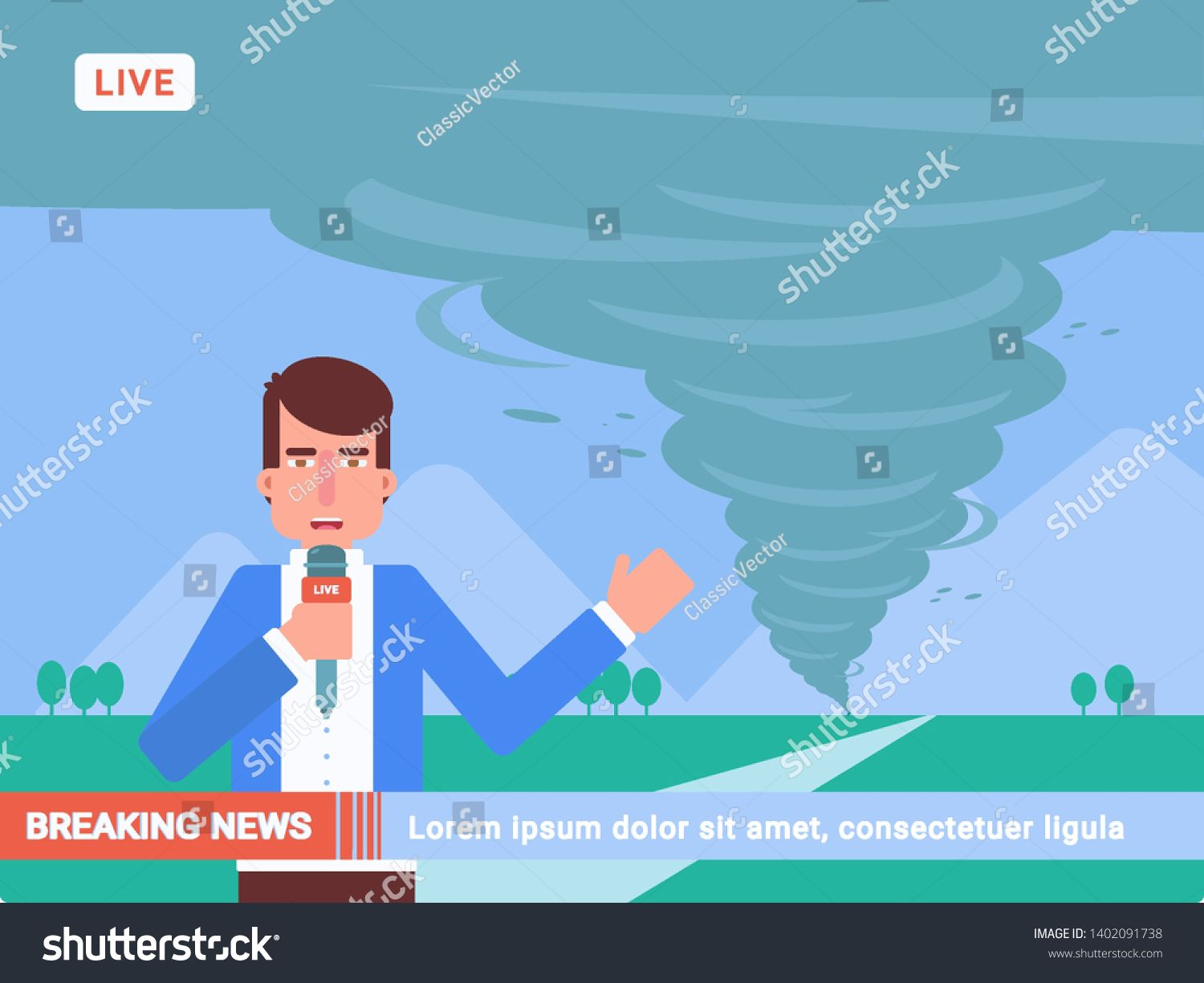Breaking News Flat Vector Illustration Storm Hurricane Whirlwind Tornado Danger Reportage Journalist With Mic In 2020 Graphic Poster Art Camera Cartoon Poster Art
