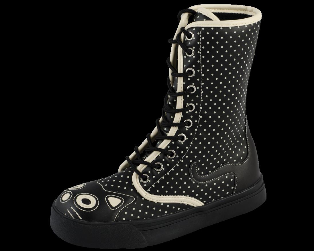 52b4da1eac8 black and white polka dot kitty sneaker boot | T.U.K. Shoes ...
