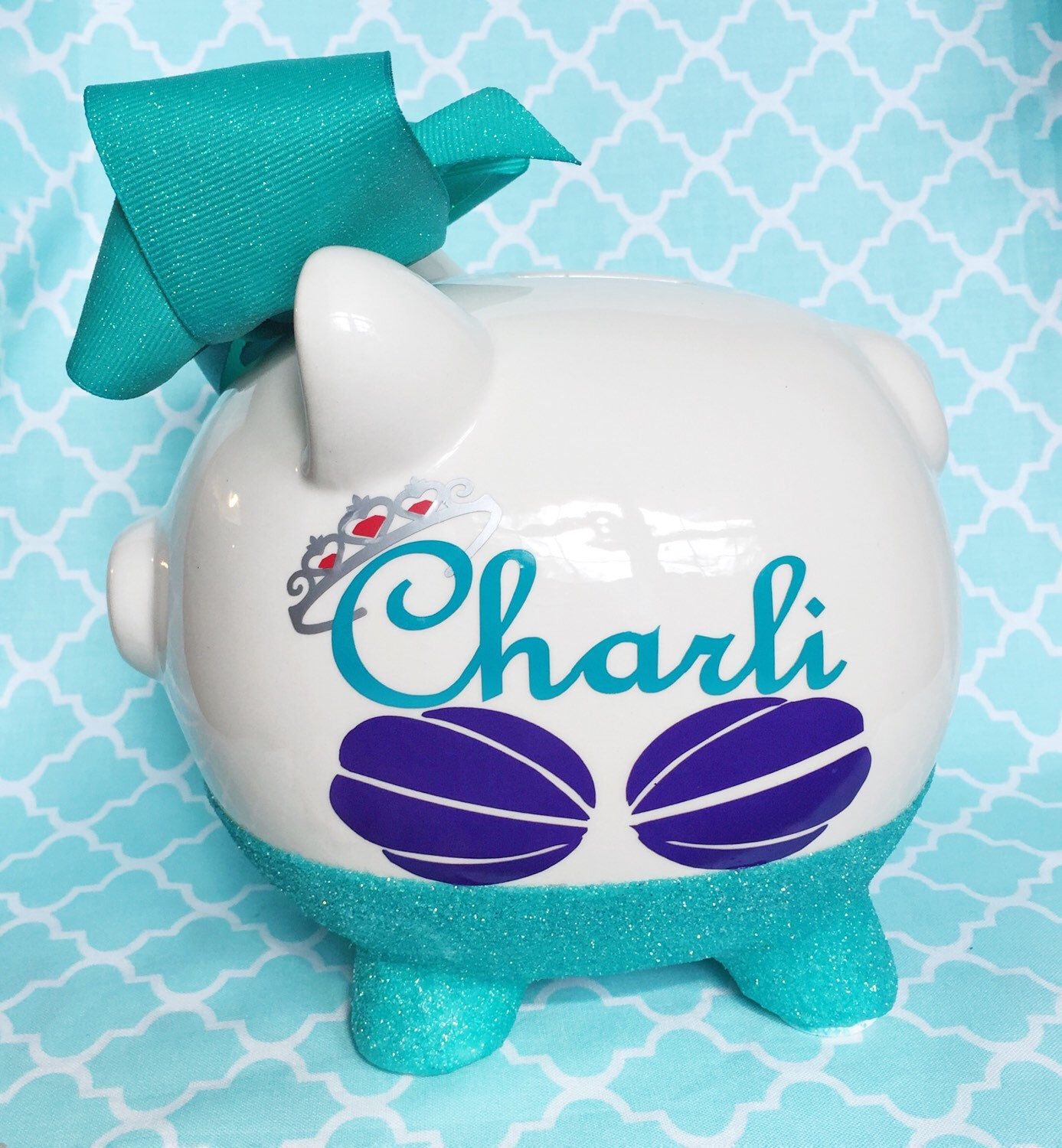 Piggy bank glitter piggy bank personalized piggy bank piggy bank glitter piggy bank personalized piggy bank mermaid piggy bank baby shower gift personalized gift keepsake gift coin by negle Choice Image