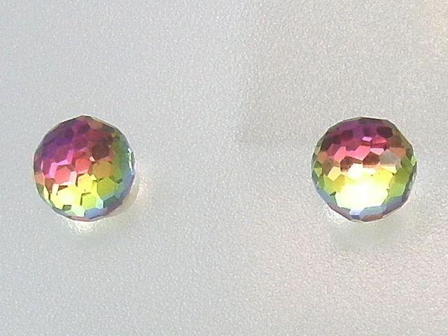 533f7b6af395  Pendientes bola cristal tornasol verde y fucsia en Plata. Están realizados  en Plata de