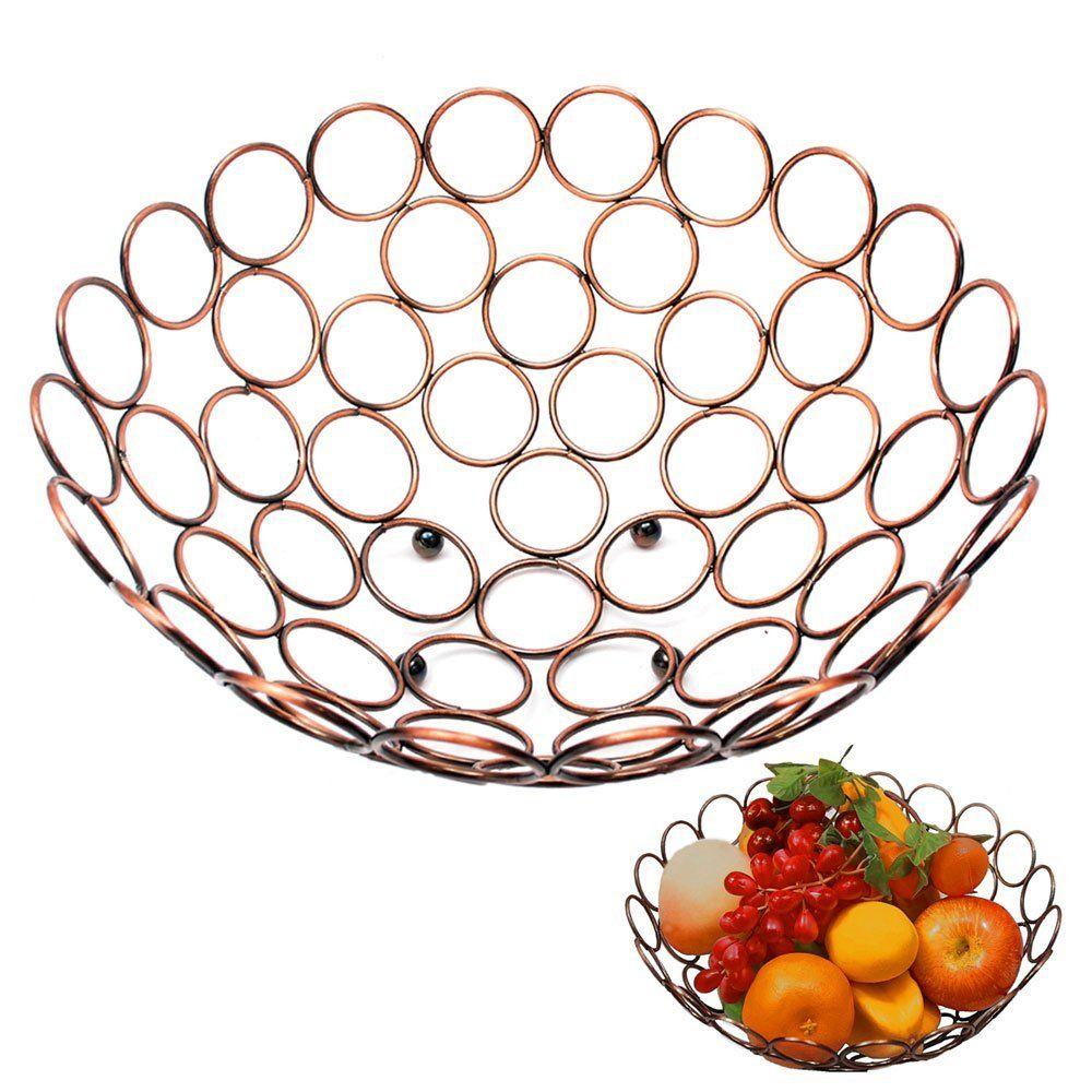 Clical Bronze Fruit Bowl Large Decorative Copper Basket Ringlike Mesh Style 12 Serving Bowls Tureens