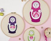 Russian doll embroidery hoop art trio