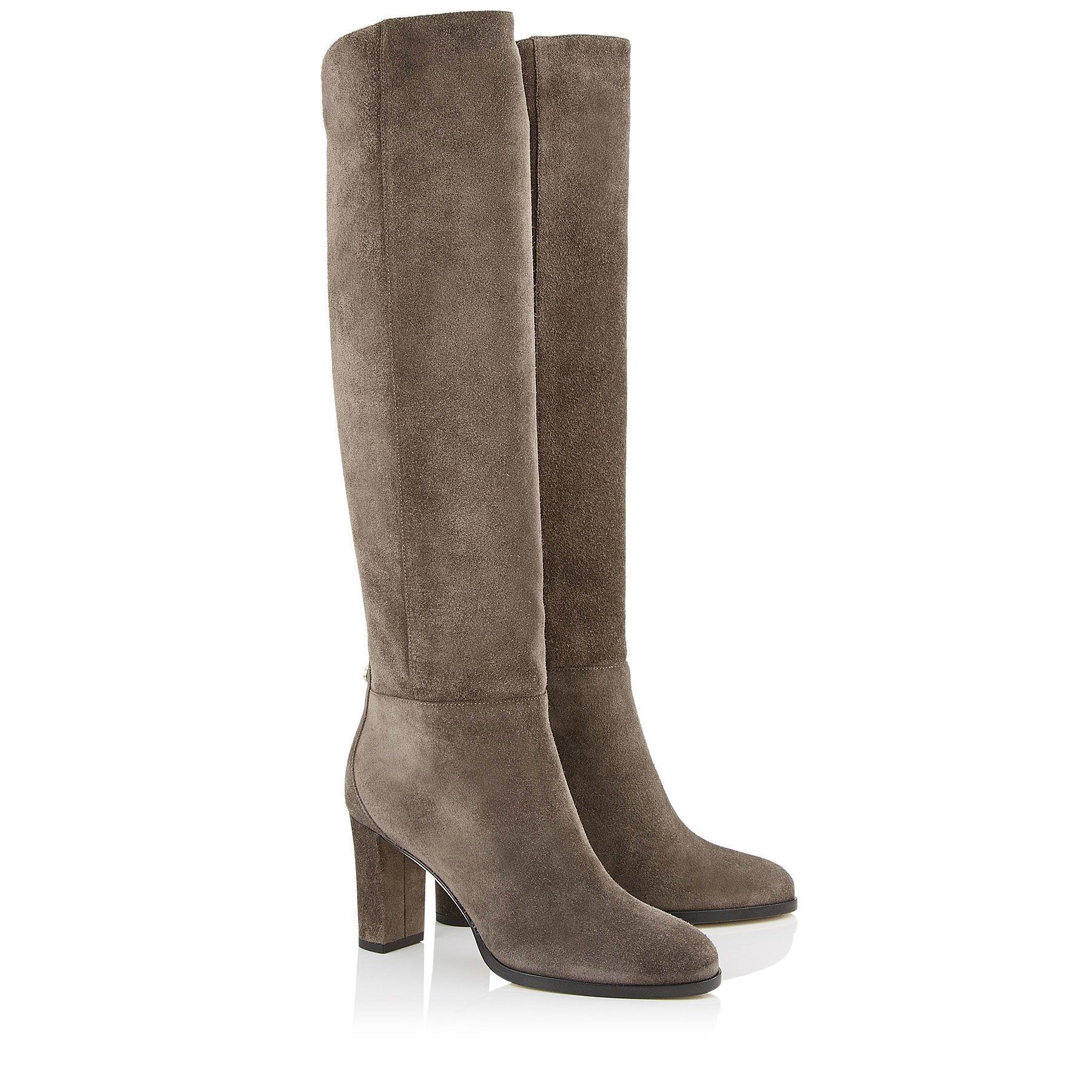 7612ff13aeb Dark Grey Velvet Suede Knee High Boots
