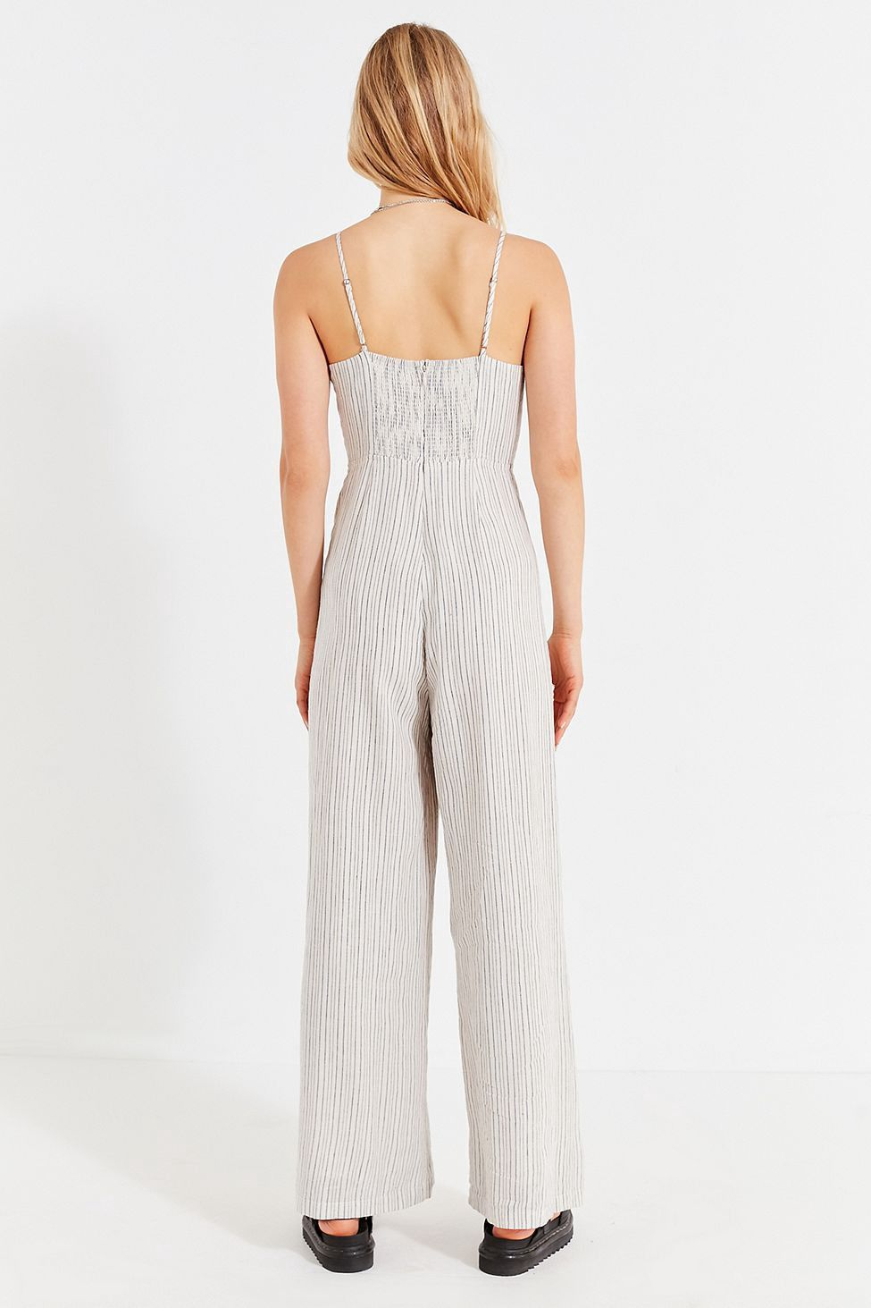 7d09d5532ff1 Urban Outfitters Uo Straight-Neck Linen Button-Down Jumpsuit - Black +  White 2
