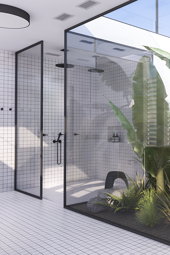 Photo of A must see urban contemporary bathroom with lots of greens