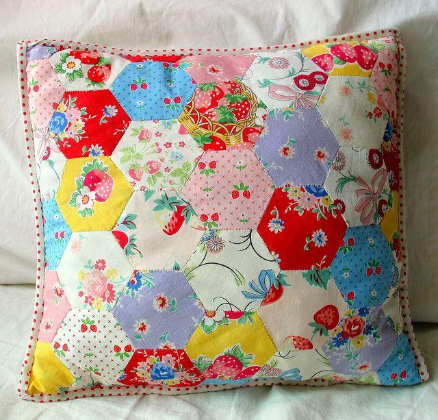 Hexagon Pillow Hexagon Quilt Hexagon Pillow Hexie Quilt