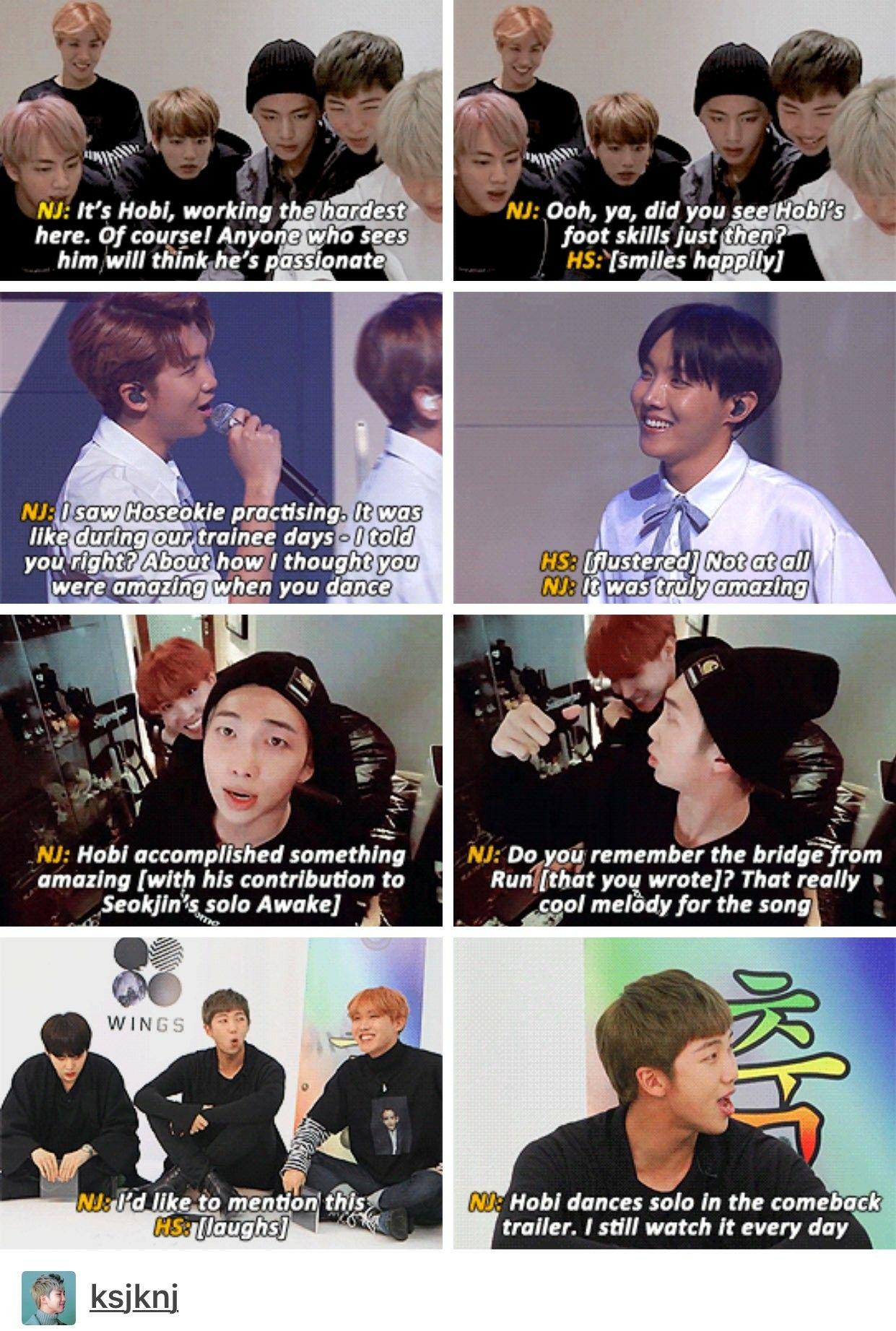 Namseok 94 Liners I Just Love How Joon Compliments Hobi And Hobi Gets Flustered Like Hobi You Deserve The Complime Bts Funny Kpop Memes Bts Hoseok Bts