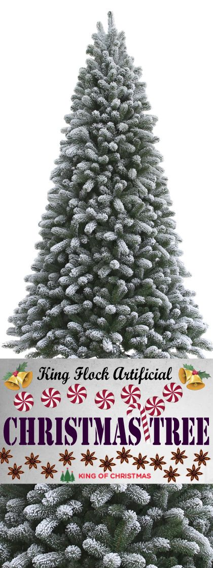 10 Foot King Flock Artificial Christmas Tree Unlit Flocked Artificial Christmas Trees Artificial Christmas Tree Christmas Tree