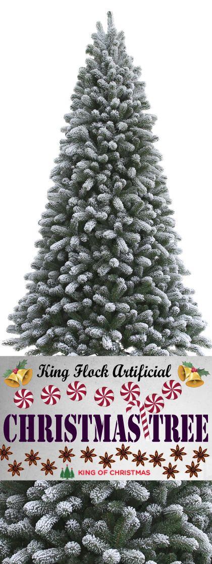 10 Foot King Flock Artificial Christmas Tree Unlit Flocked Artificial Christmas Trees Artificial Christmas Tree Christmas Tree