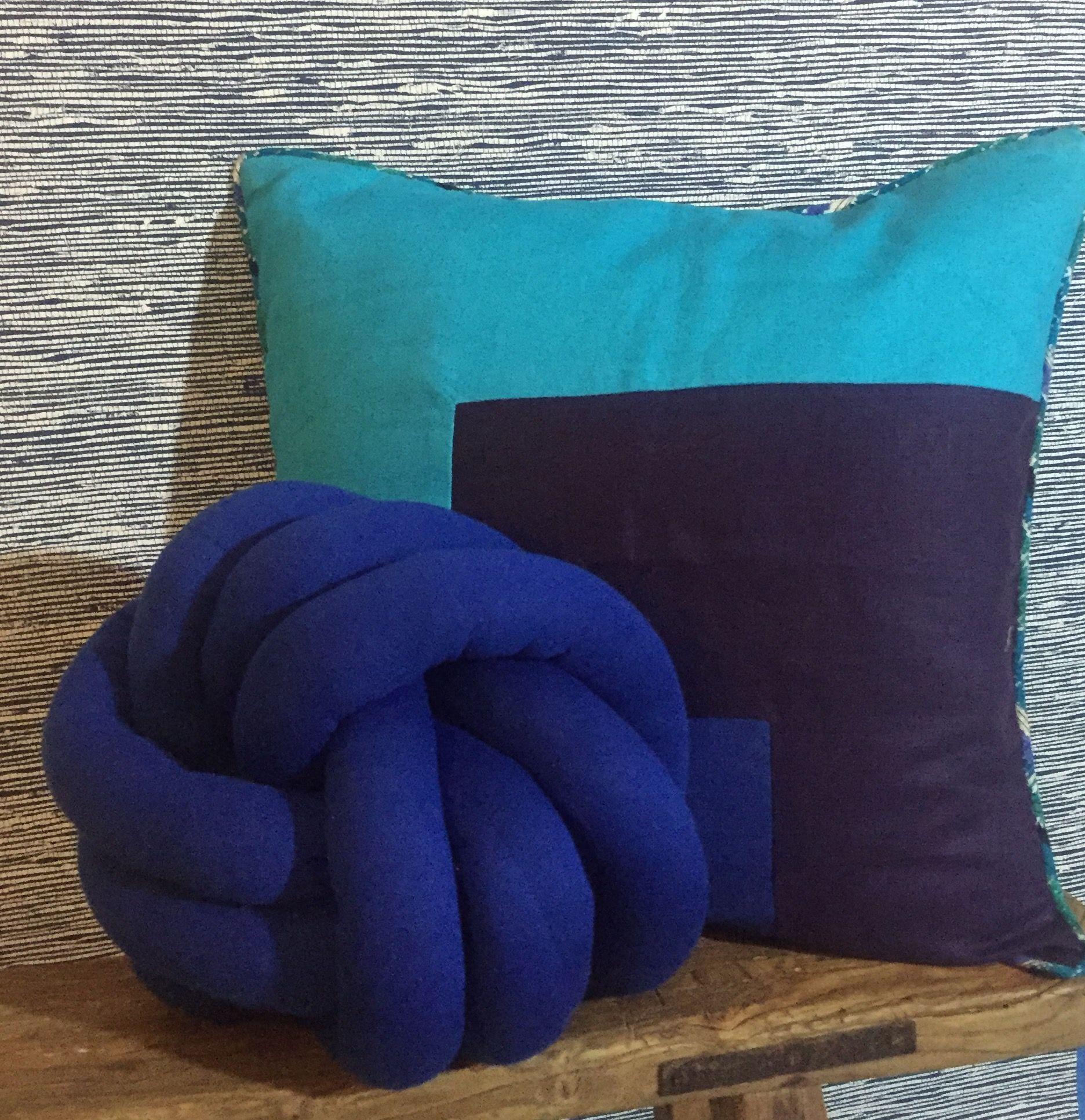 Blue knot pillow likey pinterest knot pillow