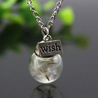 Handmade Dandelion Wish Vial Necklace Women's Unique Glass Bottle Pendant Chain