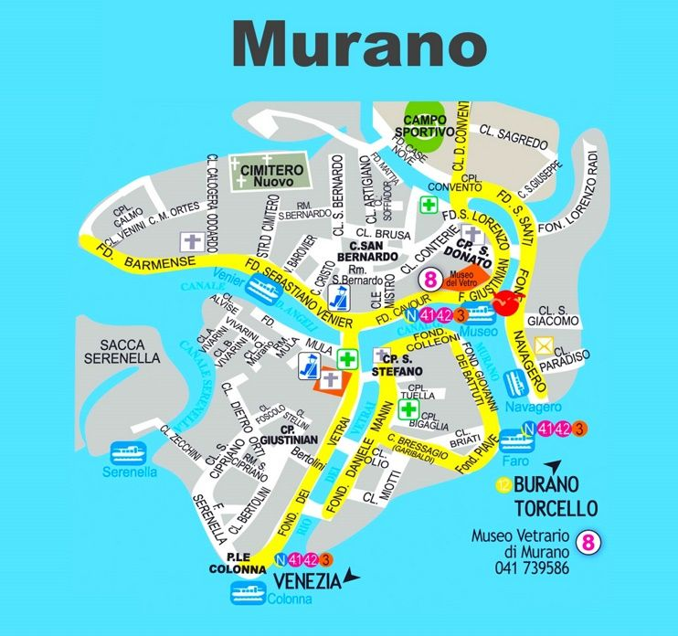 Murano tourist map Maps Pinterest Tourist map Italy and City