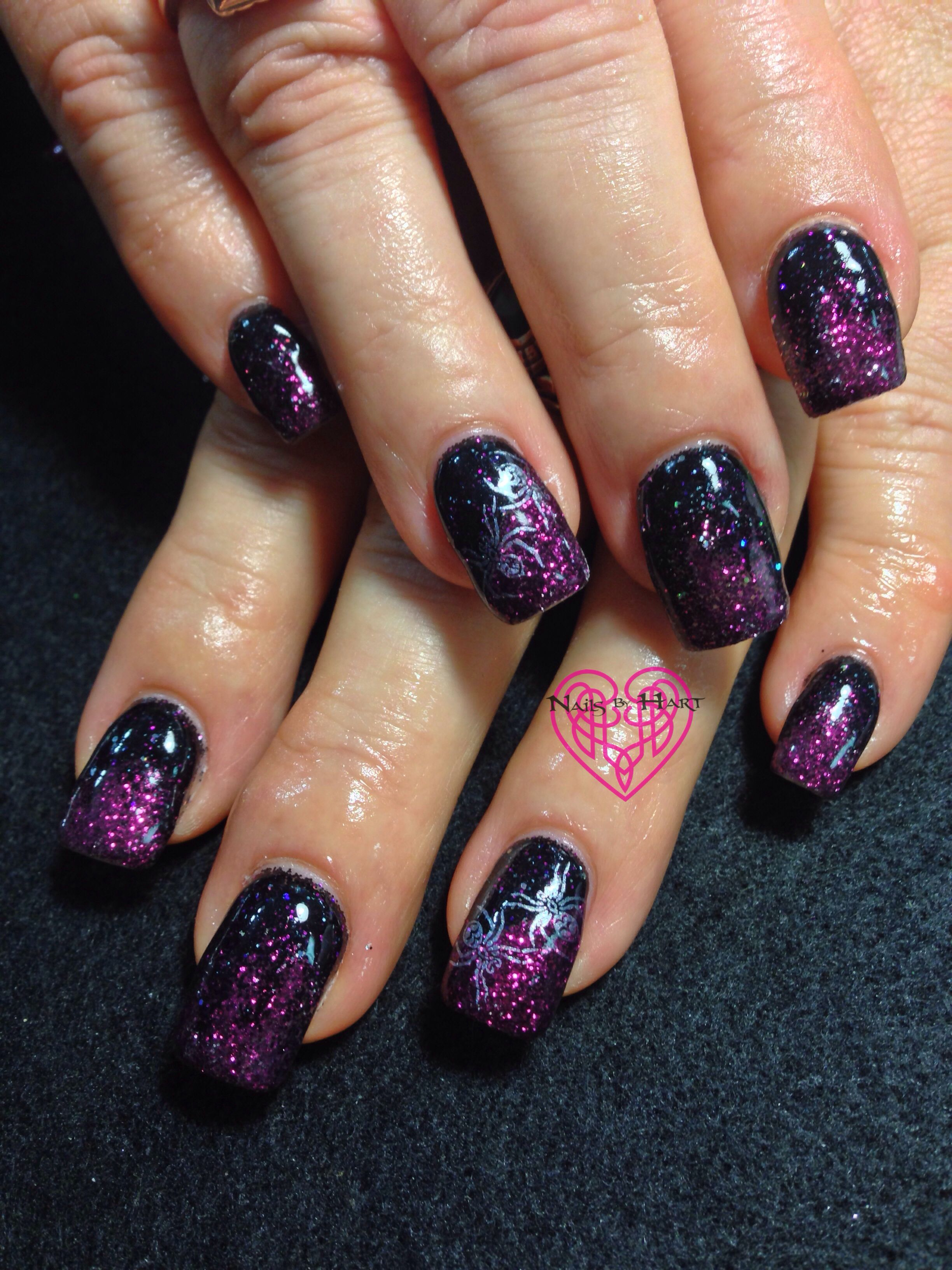 Sparkly Spider Halloween Nails 💜Nails by Katie Hart ...