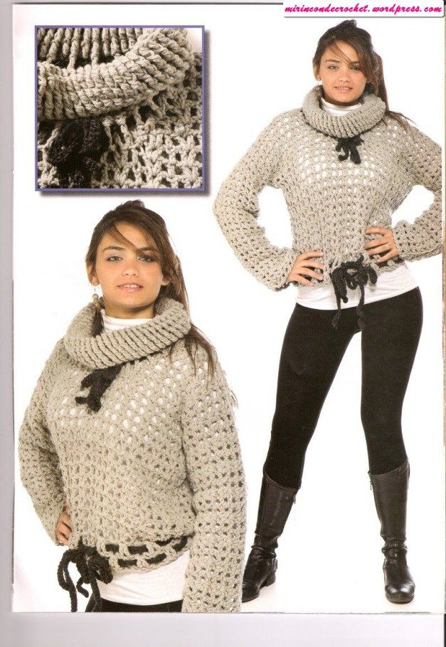 Poleron corto…muy abrigado | ropa crochet | Pinterest | Croché ...