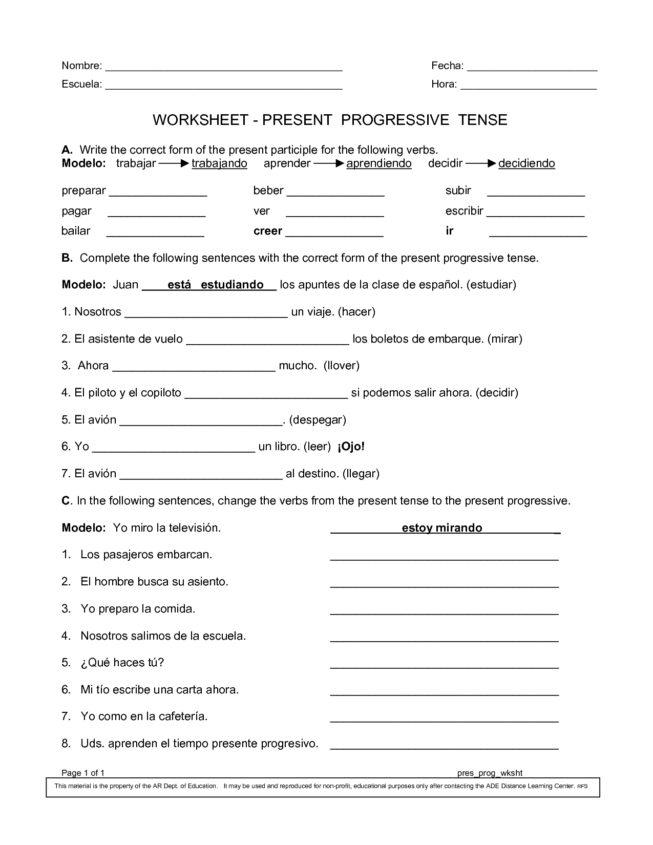 Spanish Worksheets Printables – Progressive Verb Tense Worksheets
