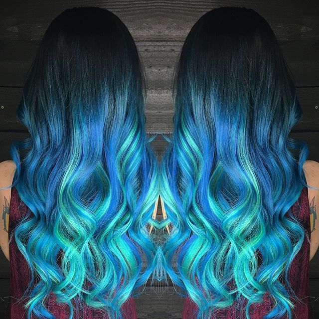 Electric Blue Ombre Hair Color With Turquoise Hair Extensions By