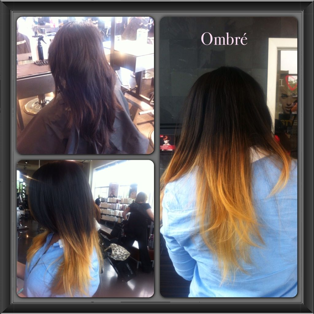 Ombre hair color using a combination of foil and teasing ...