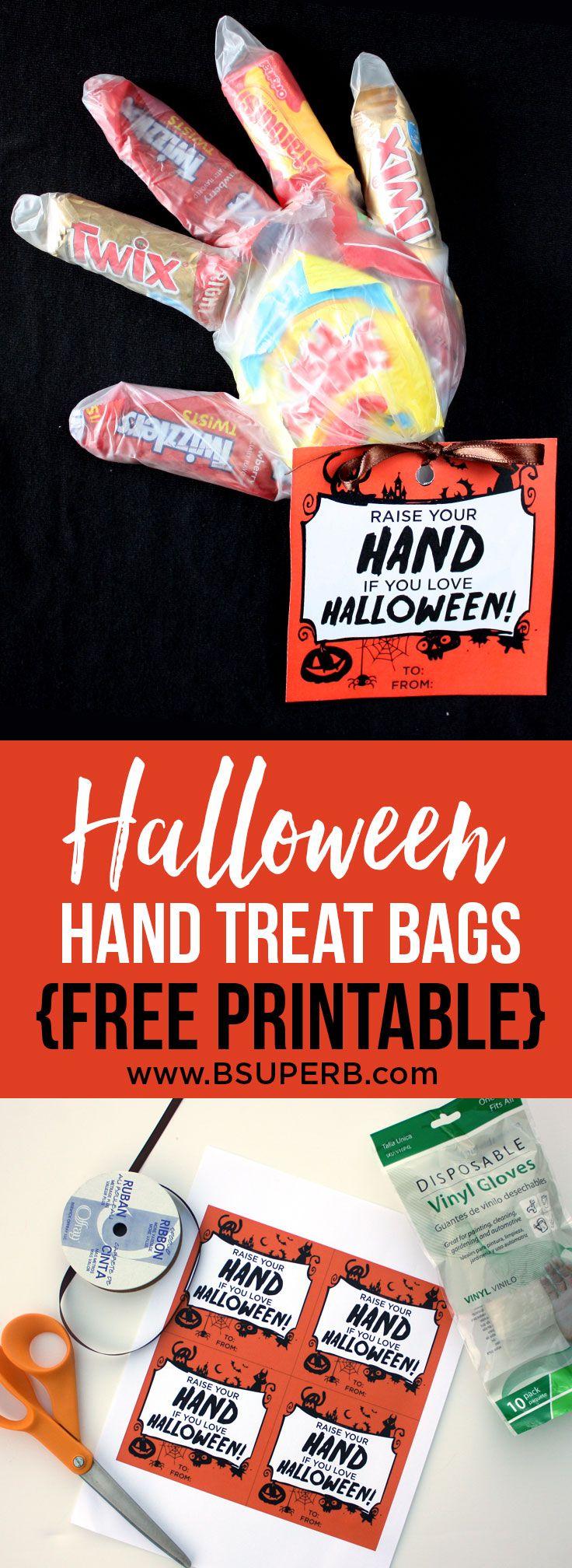 Halloween Hand Treat Bags {Free Printable Treat bags
