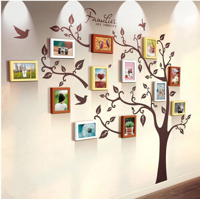 Unique family tree photo frame and decal | Pinterest | Pink white ...