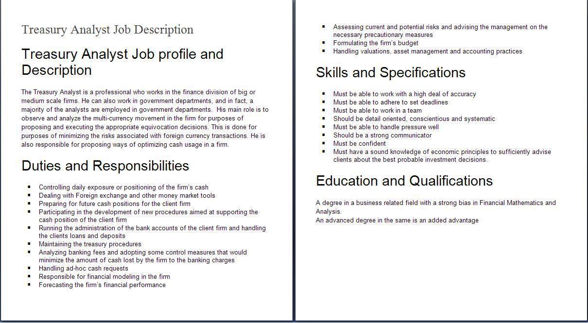 Job Description Job Description Financial Analyst Finance Jobs