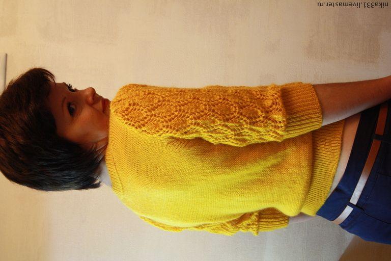 Купить Кофта ажурная - жёлтый, однотонный, ажурная кофта, вязаная кофта женская, вязаная кофта