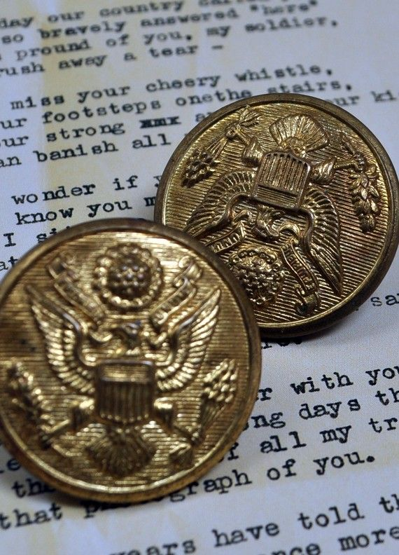 Two WW2 Metal Military Uniform Buttons by witchcrafts on