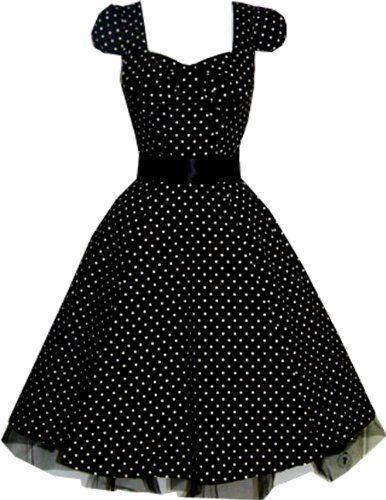Pretty Kitty Fashion 50s Polka Dot Schwarz Weiß Cocktail Kleid ...