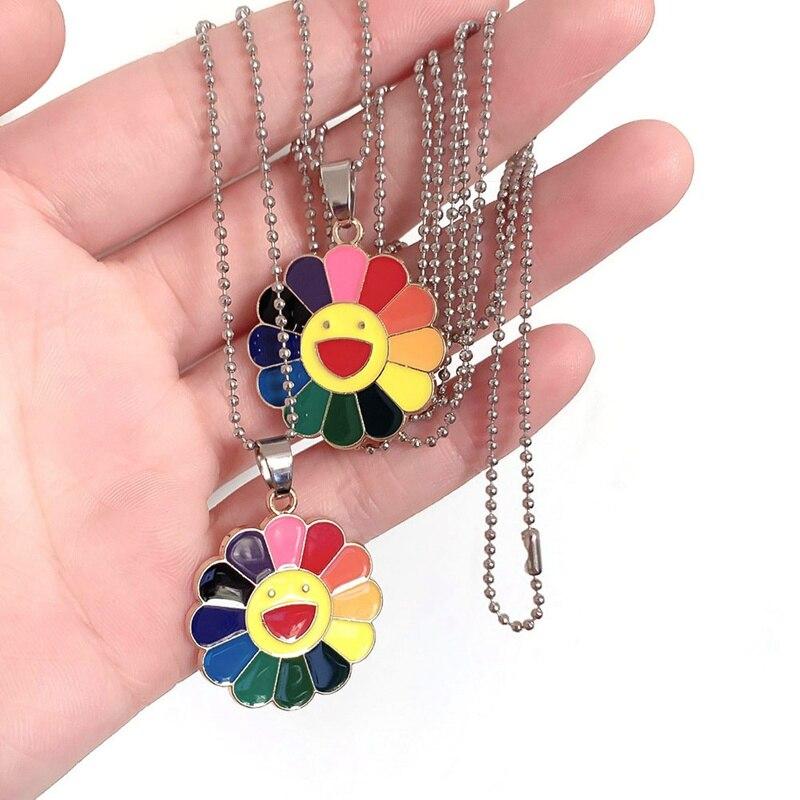 Rainbow Pride Happy Sunflower Pendant Necklace Sunflower