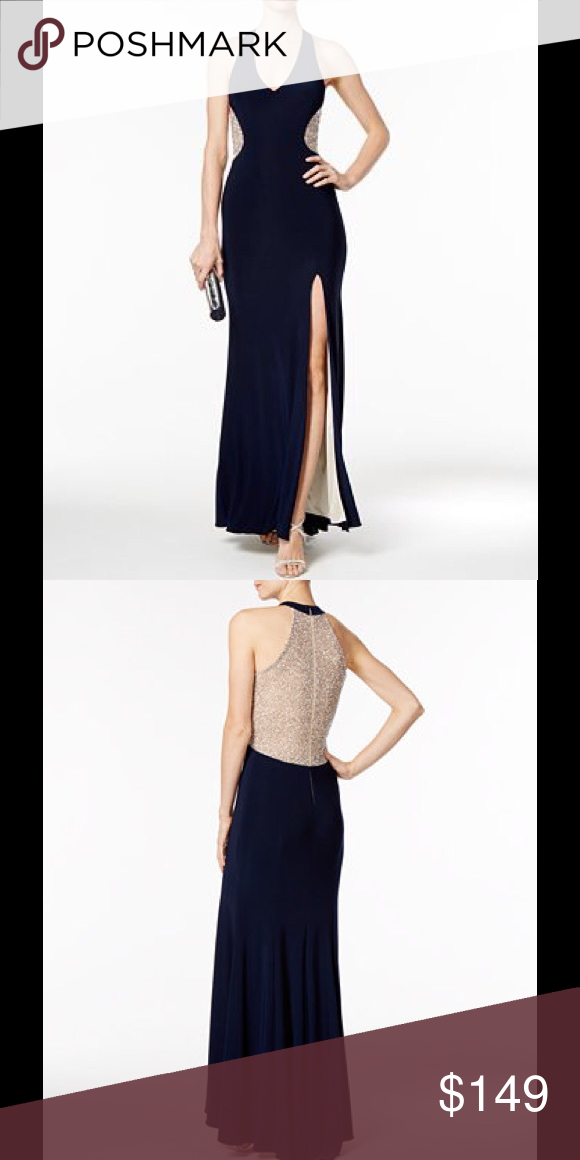 🎉Host Pick🎉Xscape Navy Illusion Beaded Back Gown NWT | My Posh ...