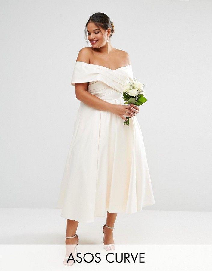 Asos Curve Asos Curve Bridal Bonded Sateen Cross Fold Debutante