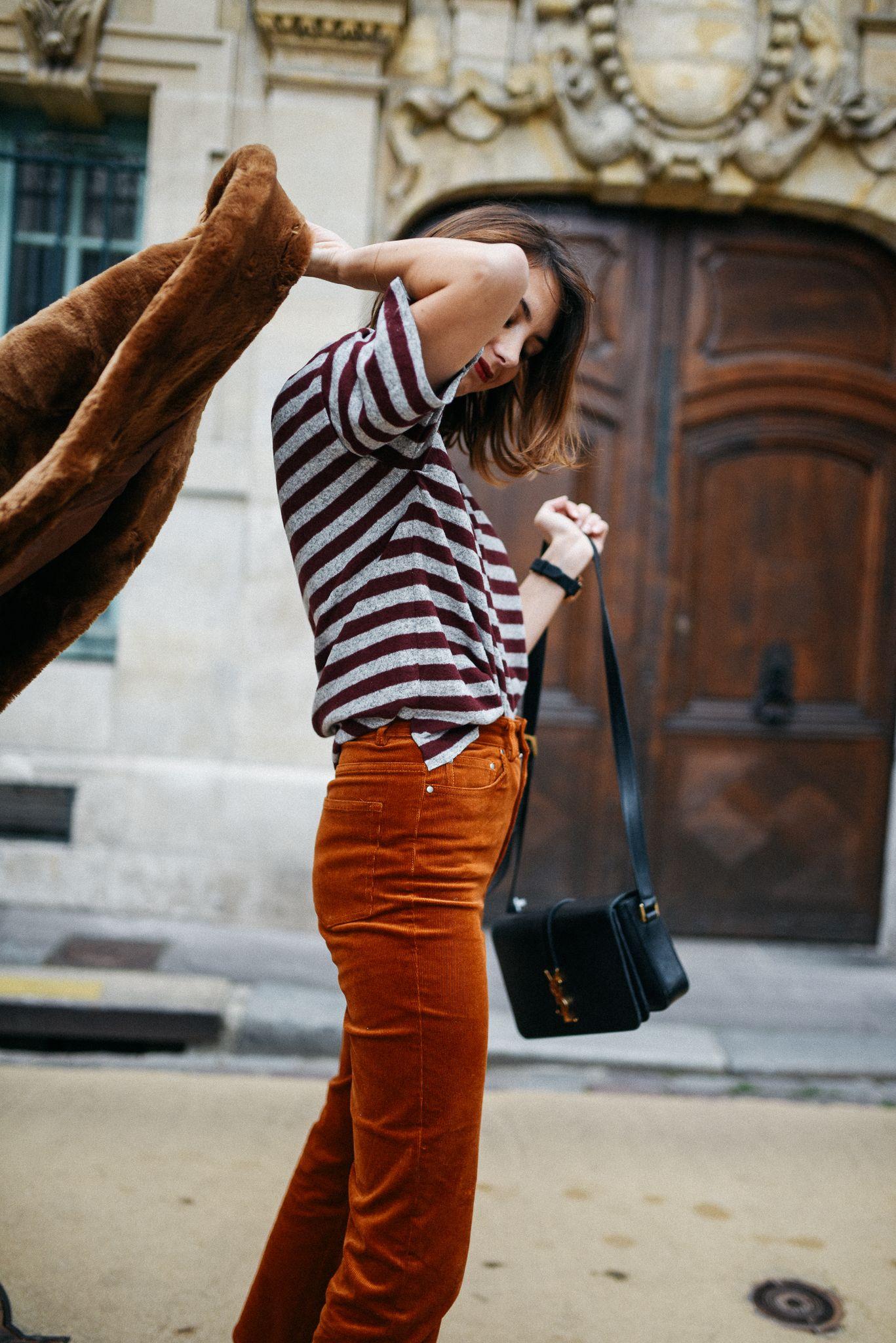 The Brunette - 3 façons de porter le pantalon en velours côtelé   J ai  voulu une tenue dans les tons automnal 0827ddd3c58