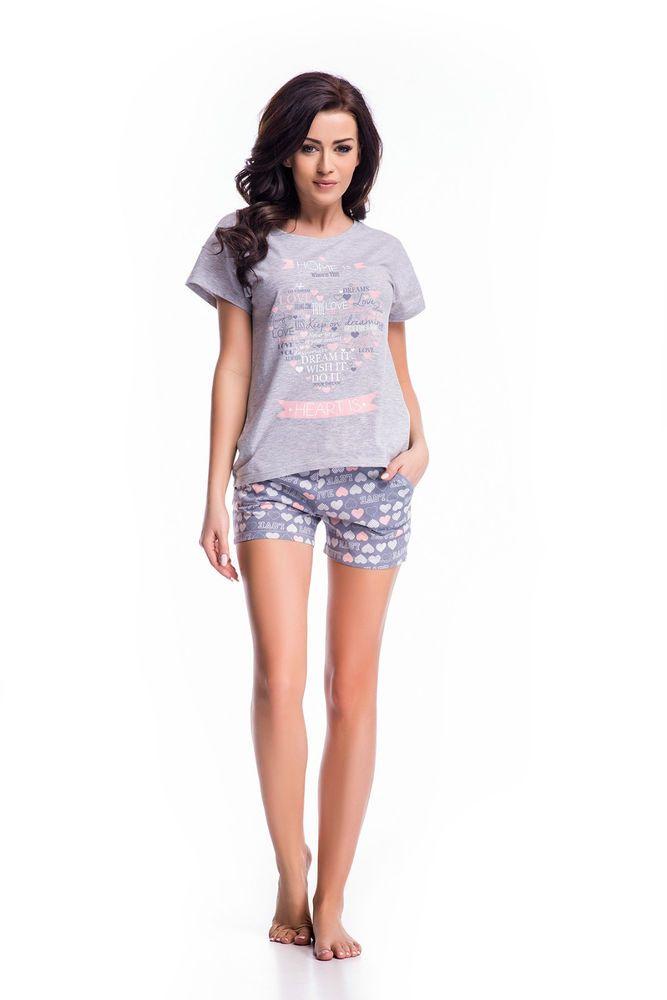 0804fb1f579468 Damen Schlafanzug Pyjama Nachthemden Nachtwäsche Baumwolle kurz Shorty S M  L XL
