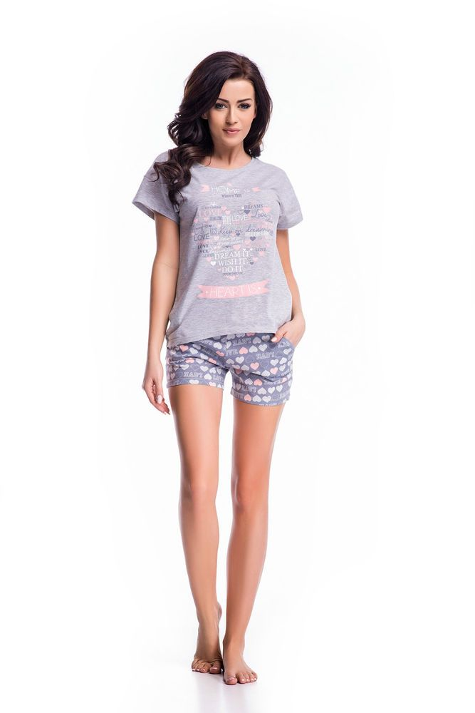 7f8e40a684e70b Damen Schlafanzug Pyjama Nachthemden Nachtwäsche Baumwolle kurz Shorty S M  L XL