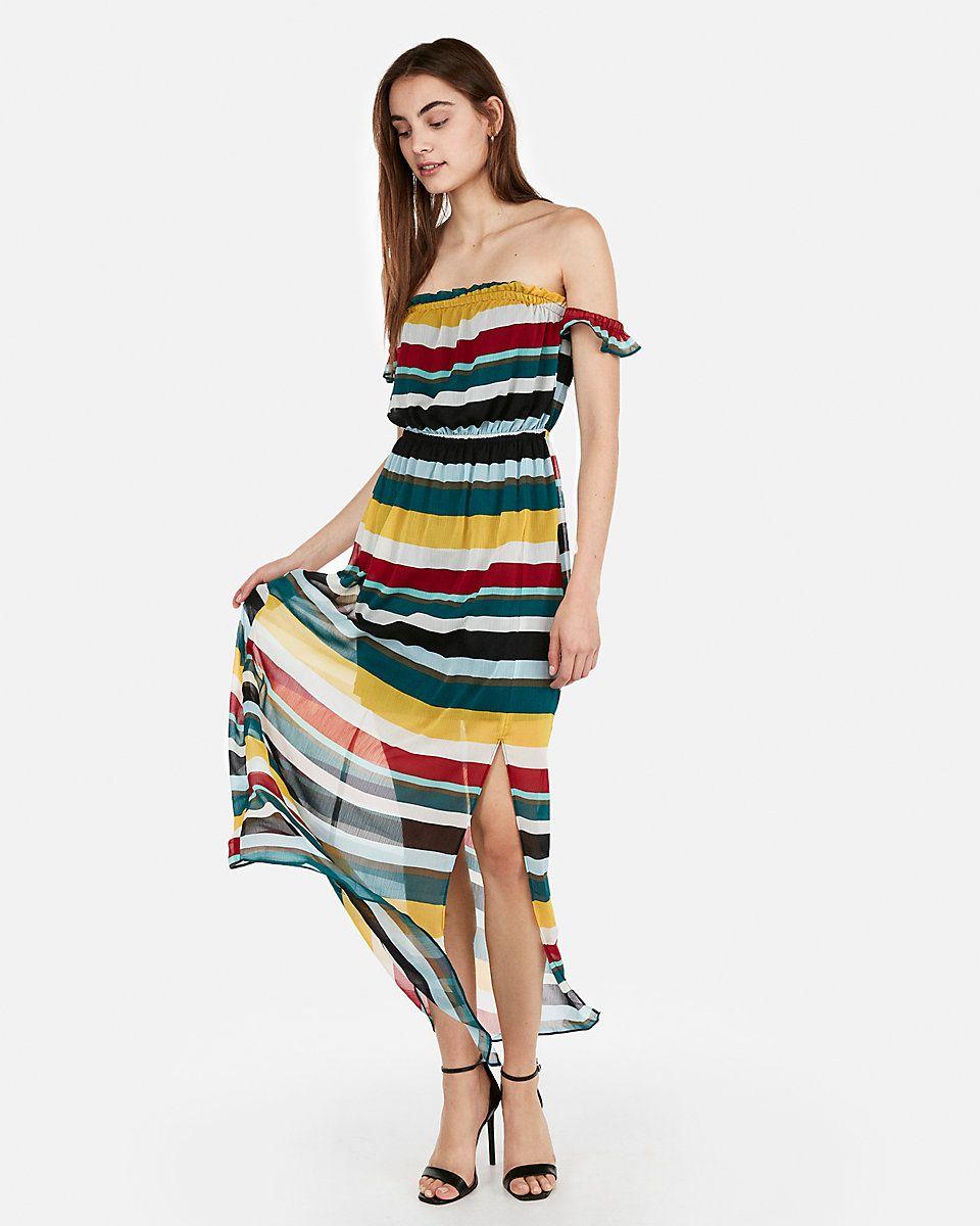 75d0821a9c39 Striped Off The Shoulder Flutter Sleeve Maxi Dress Stripe Women s XS ...