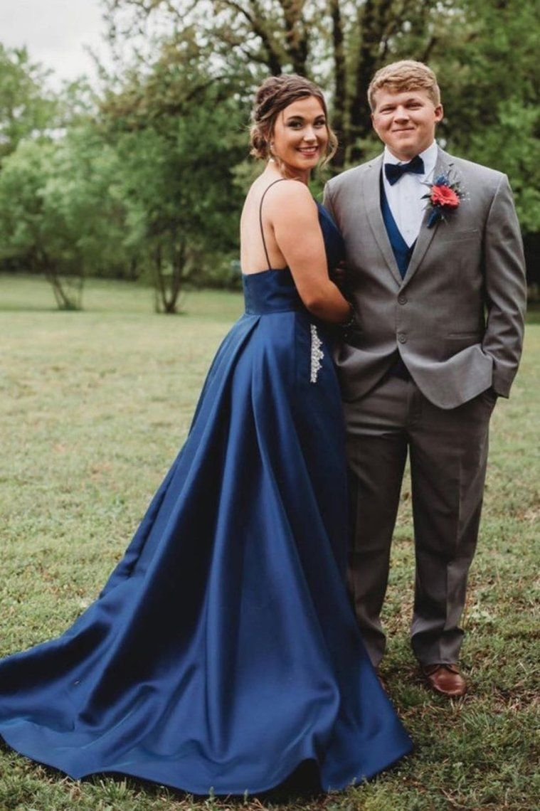 Straps A-Line Beaded Navy Blue Prom Dress With #navyblueshortdress