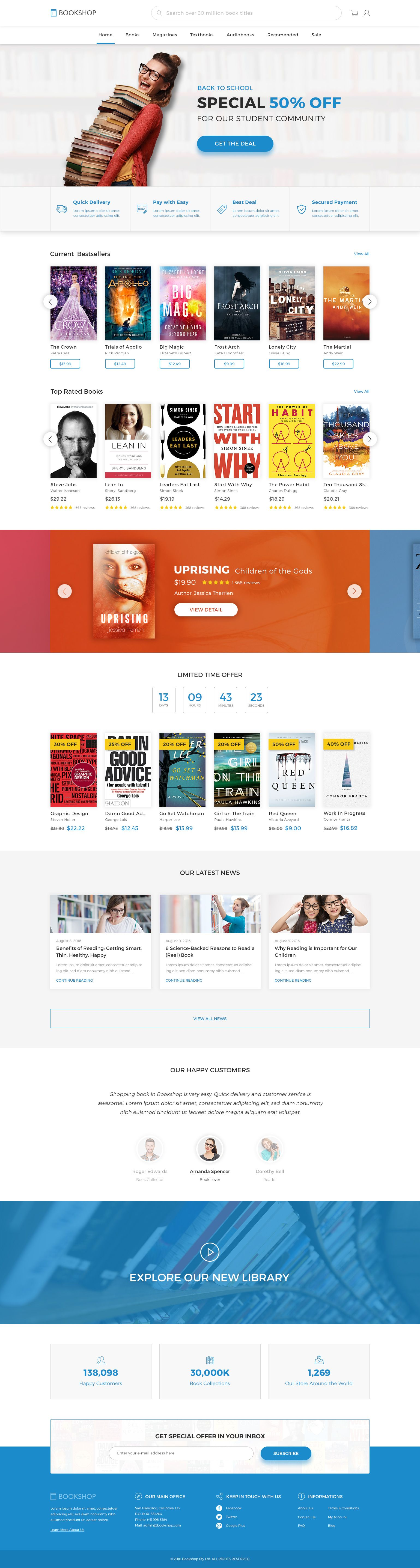 Bookshop Online Book Store Template Psd Preview Themeforest Online Bookstore Bookstore Online Shop Design