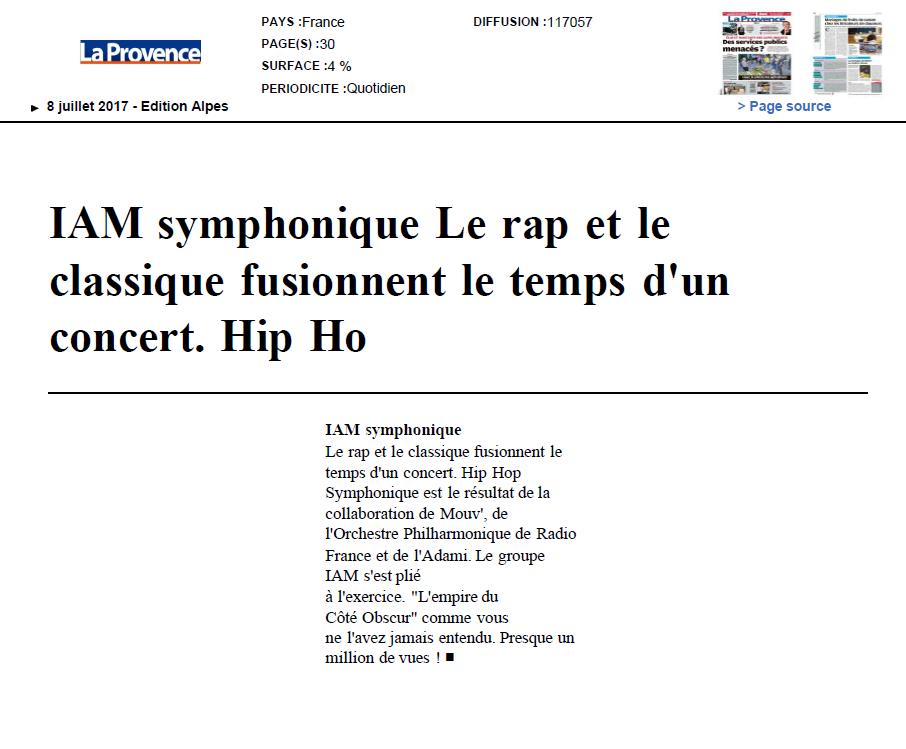 IAM dans La Provence le 8 juillet 2017 (avec images) Rap