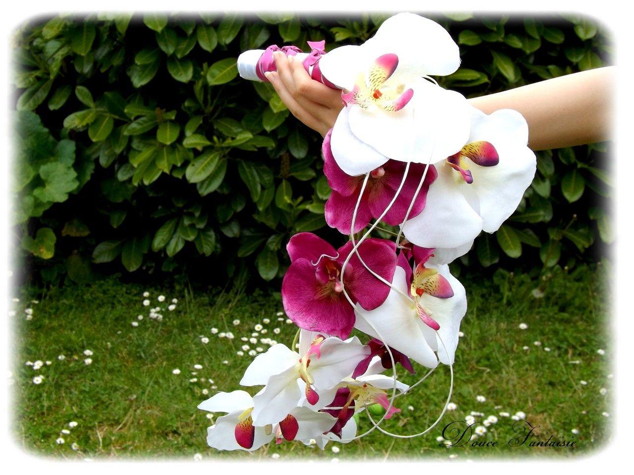 aur lie bouquet de mari e orchid e cascade fleurs artificielles cascade douce fantaisie. Black Bedroom Furniture Sets. Home Design Ideas