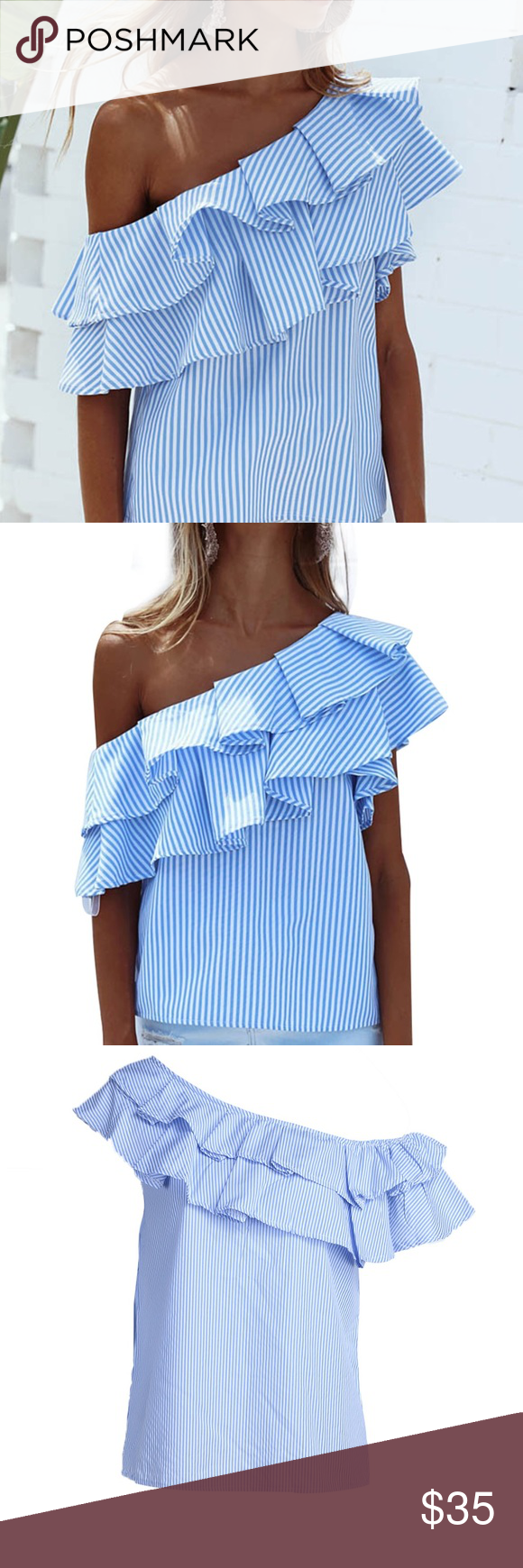d503f54dbff8de Styling ruffled off the shoulder top blouse Blue and white striped ruffle  top to be