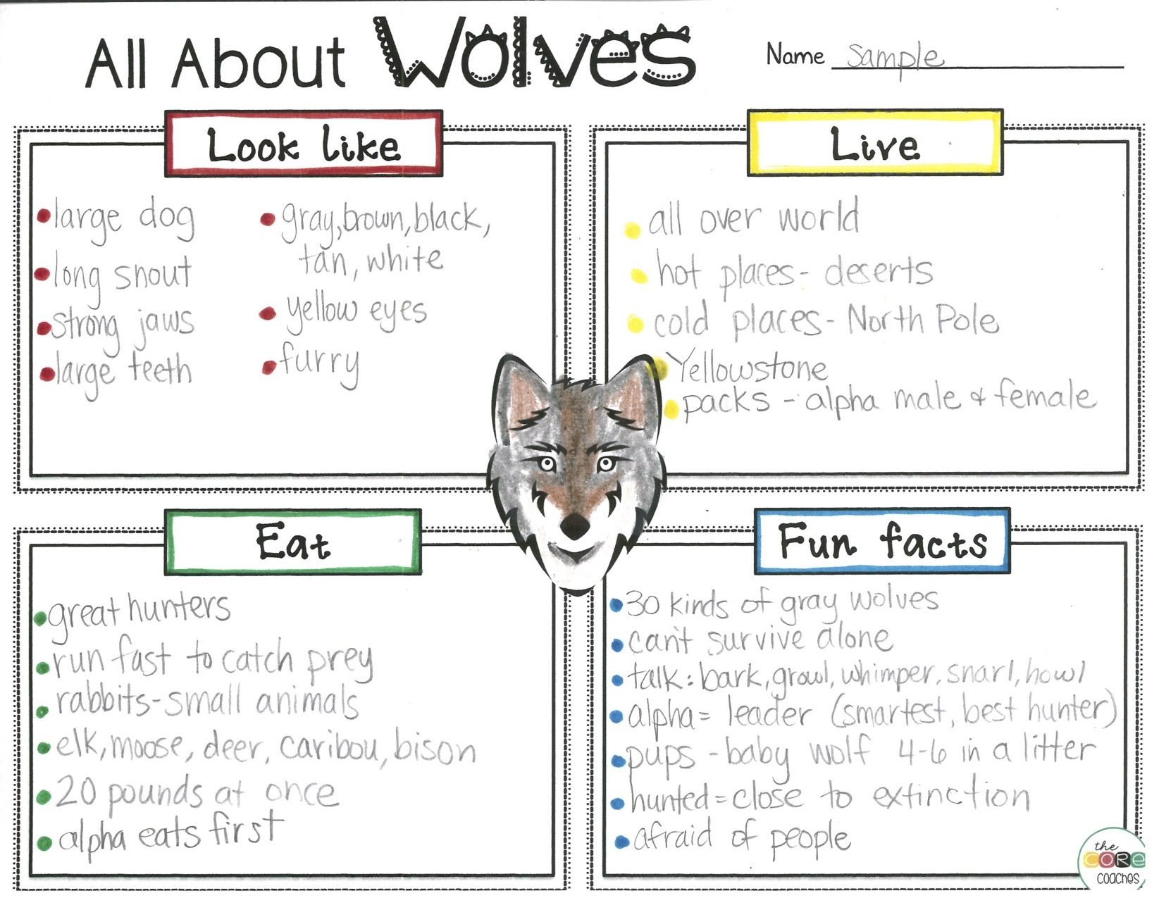 Wolves of yellowstone worksheet ideas