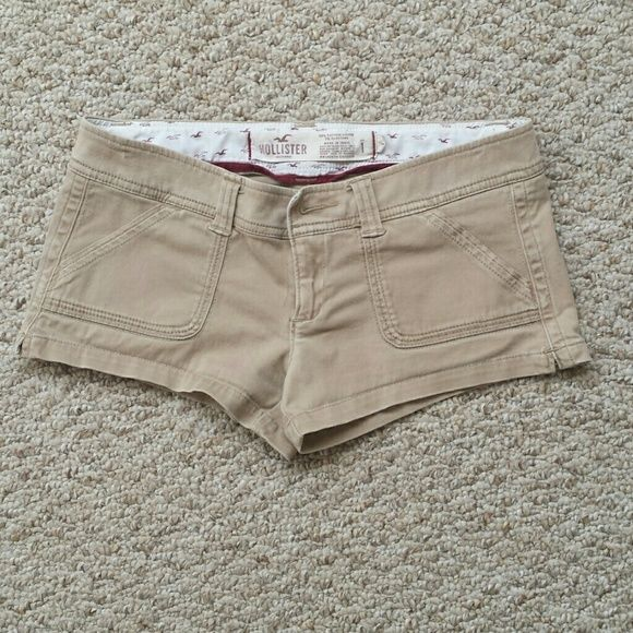 Hollister Booty Shorts These shorts will show off all your assets! In a lovely neutral tan-khaki color,  they will go with anything. Hollister Shorts Jean Shorts