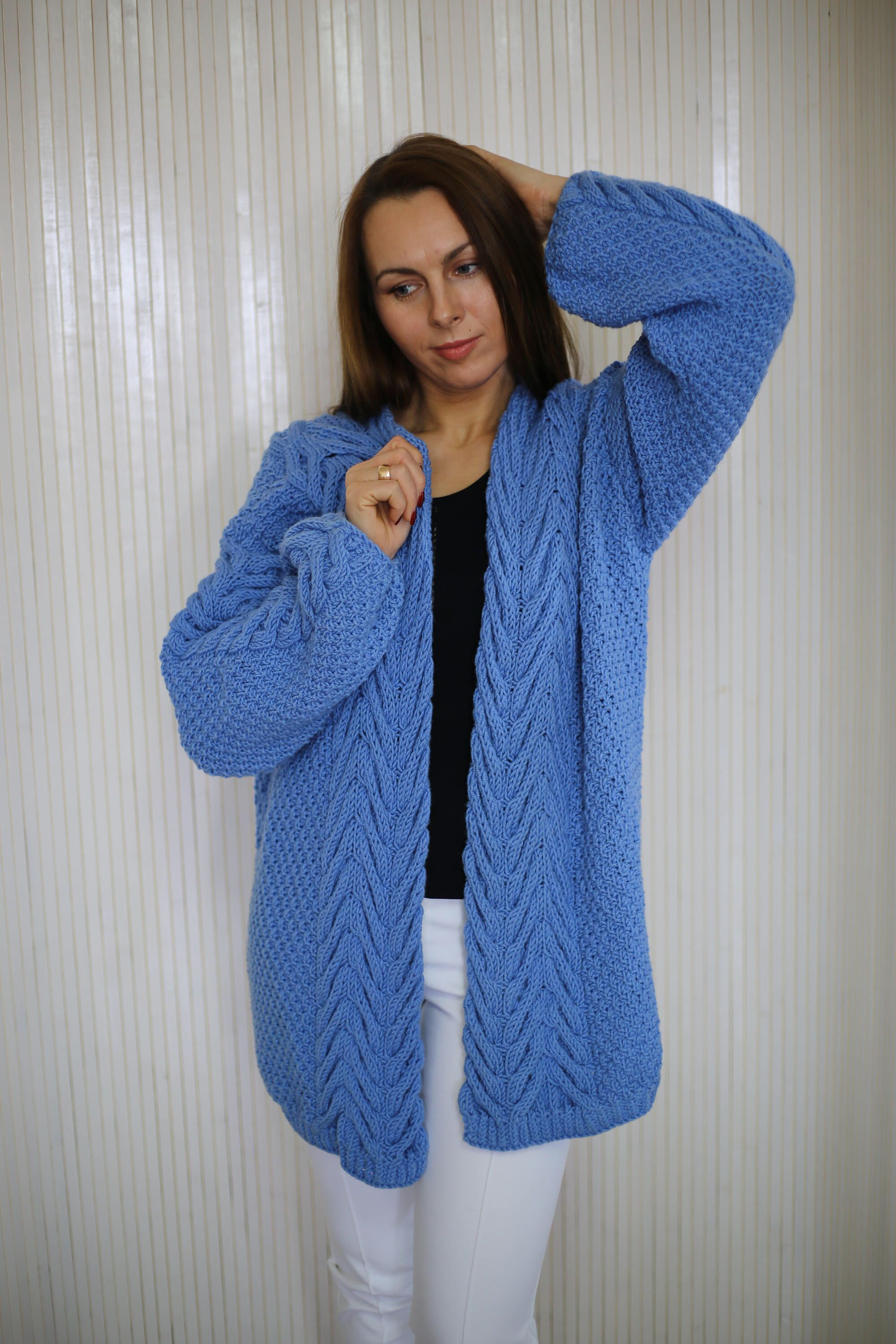Large Cardigan Long Cable Knit Sweater Chunky Knit Plus Size